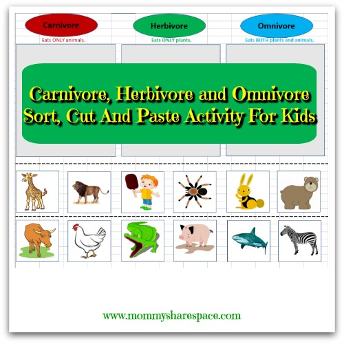 carnivore herbivore and omnivore sort cut and paste activity for kids mommy share space. Black Bedroom Furniture Sets. Home Design Ideas